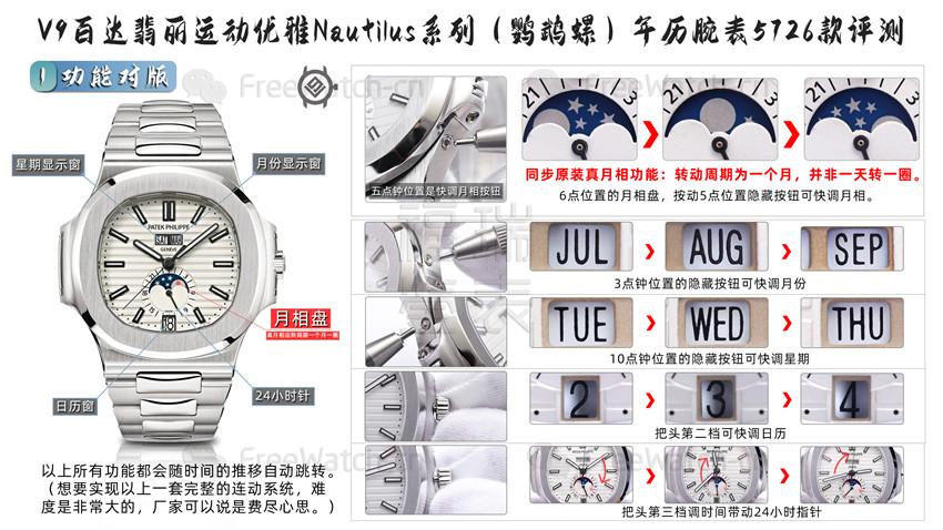 V9厂百达翡丽鹦鹉螺5726年历款与正品对比评测