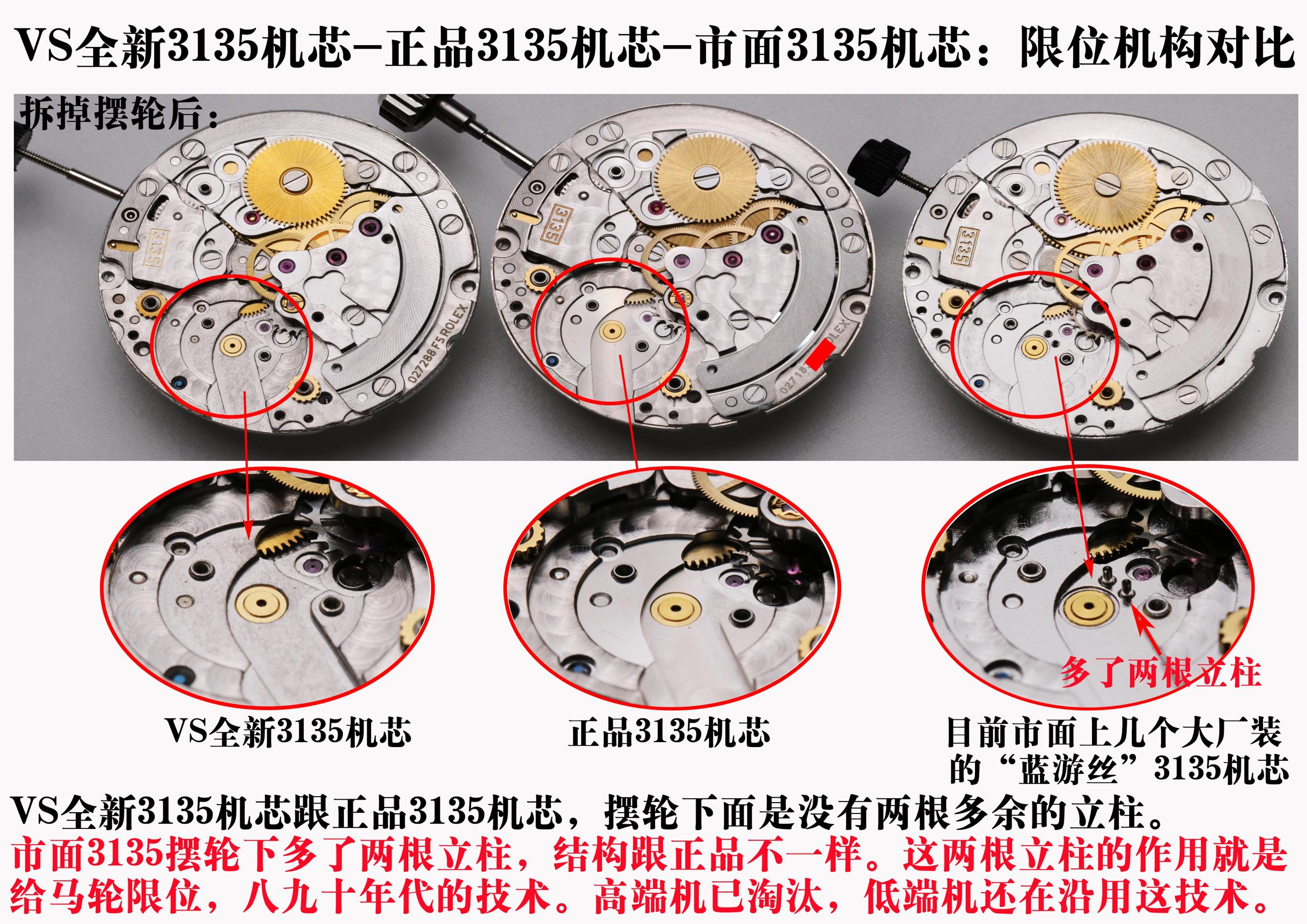 VS厂全新复刻劳力士3135机芯对比正品和其它版本评测-第12张