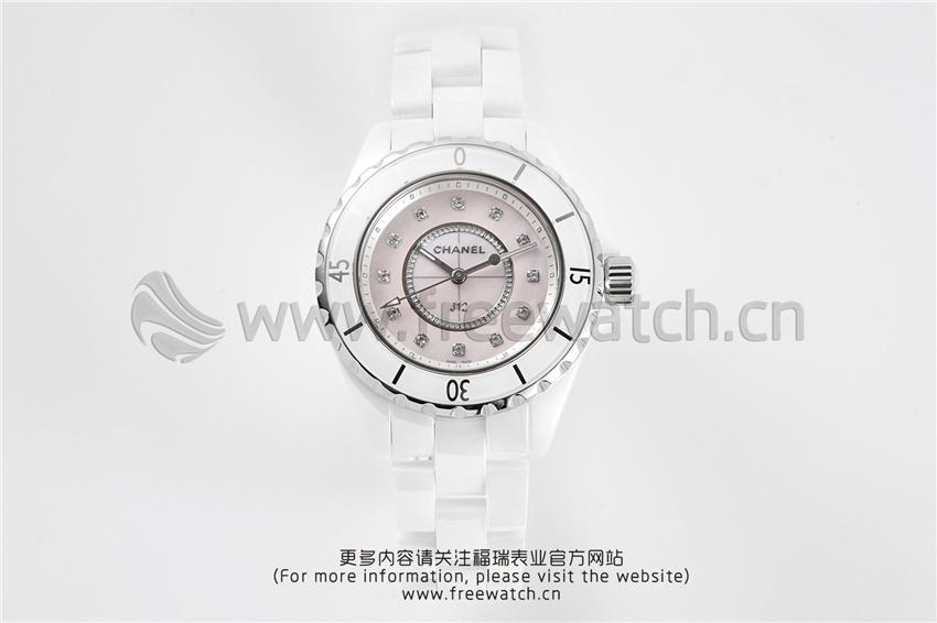 XF厂香奈儿J12粉色贝母盘白陶瓷石英款对比正品评测-第11张
